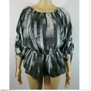 Style & Co. Black White Peplum Semi Sheer Sz SP